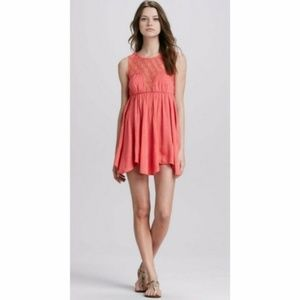 Free People coral pink flowy fiesta dress M